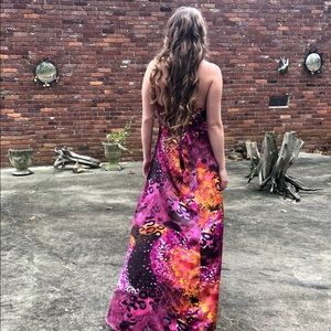 Sexy Hot Pink Tie Dye Satin High Low Halter Dress